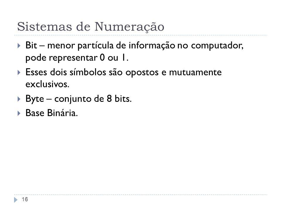 Sistemas de Numeração Bit – menor partícula de informação no computador, pode representar 0 ou 1. Esses dois símbolos são opostos e mutuamente exclusi