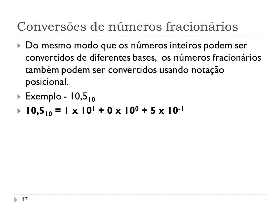 Conversões de números fracionários Do mesmo modo que os números inteiros podem ser convertidos de diferentes bases, os números fracionários também pod