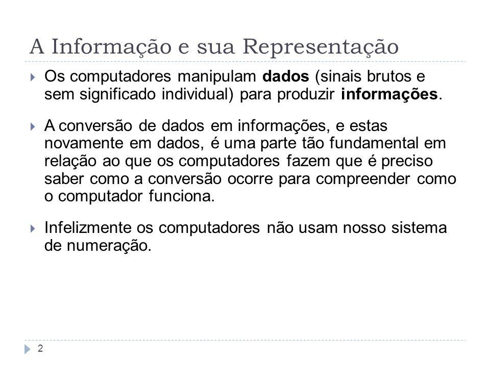 A Informação e sua Representação Os computadores manipulam dados (sinais brutos e sem significado individual) para produzir informações. A conversão d