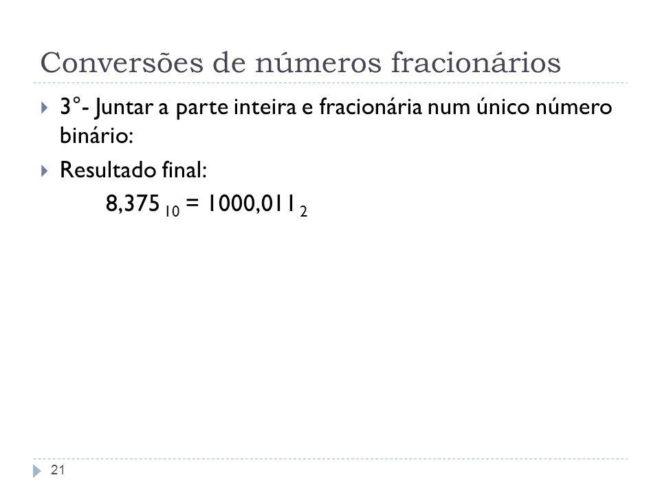 Conversões de números fracionários 3°- Juntar a parte inteira e fracionária num único número binário: Resultado final: 8,375 10 = 1000,011 2 21