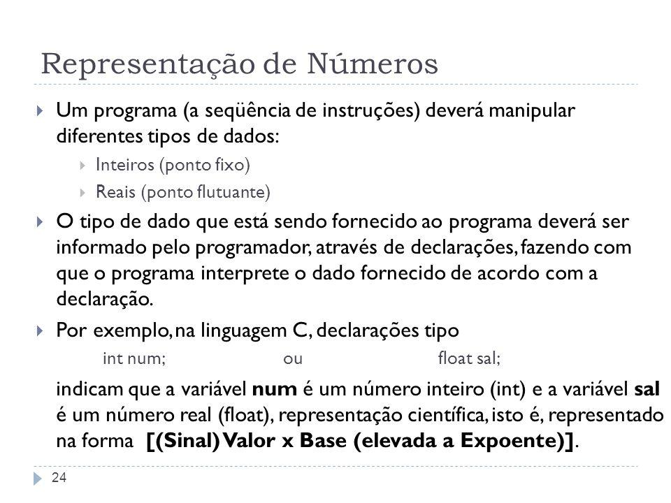 Representação de Números Um programa (a seqüência de instruções) deverá manipular diferentes tipos de dados: Inteiros (ponto fixo) Reais (ponto flutua