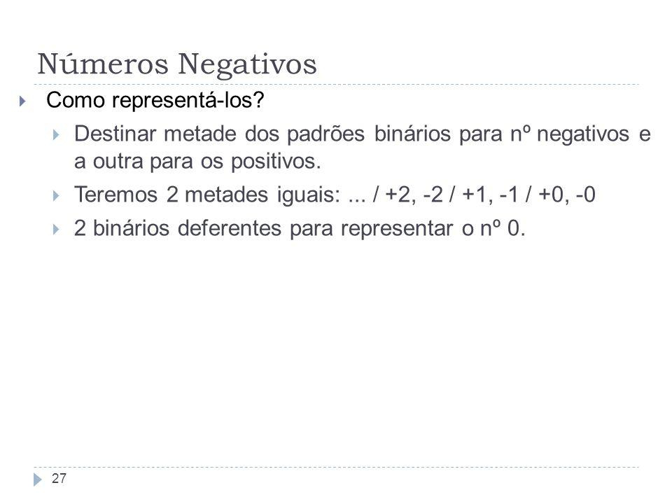 Como representá-los? Destinar metade dos padrões binários para nº negativos e a outra para os positivos. Teremos 2 metades iguais:... / +2, -2 / +1, -