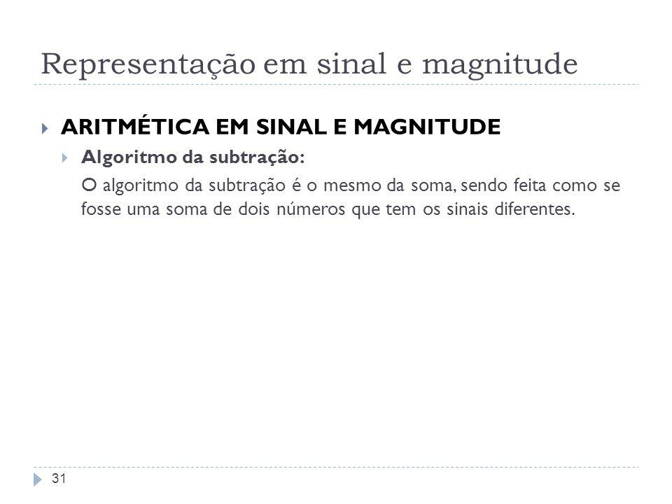 Representação em sinal e magnitude ARITMÉTICA EM SINAL E MAGNITUDE Algoritmo da subtração: O algoritmo da subtração é o mesmo da soma, sendo feita com
