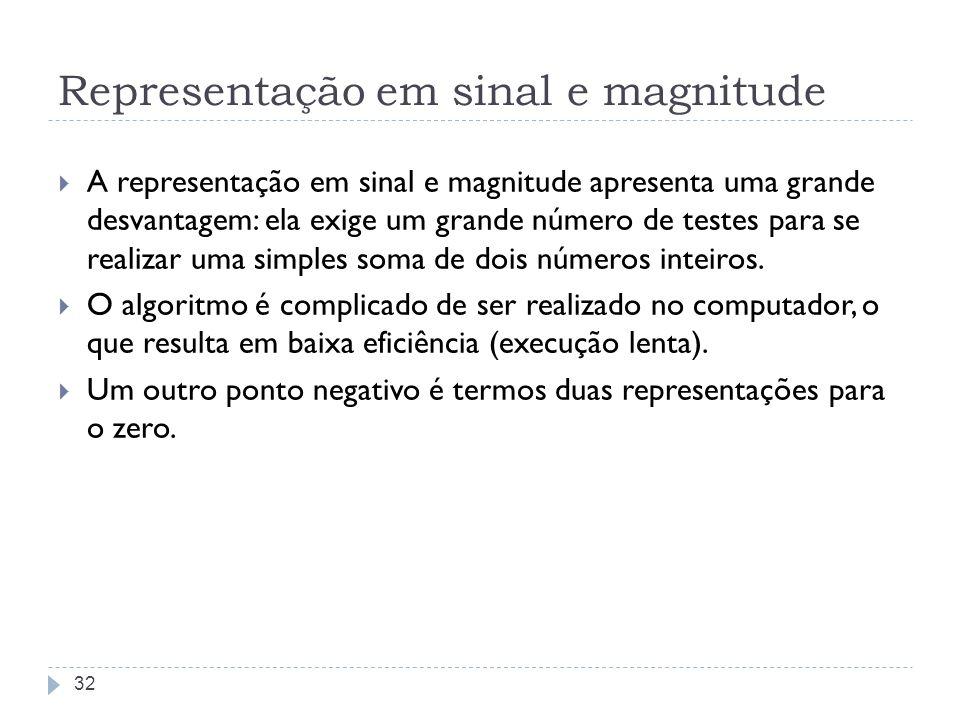 Representação em sinal e magnitude A representação em sinal e magnitude apresenta uma grande desvantagem: ela exige um grande número de testes para se