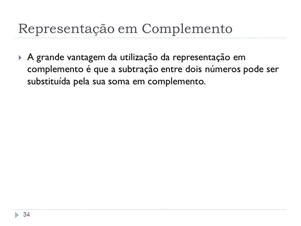 Representação em Complemento A grande vantagem da utilização da representação em complemento é que a subtração entre dois números pode ser substituída