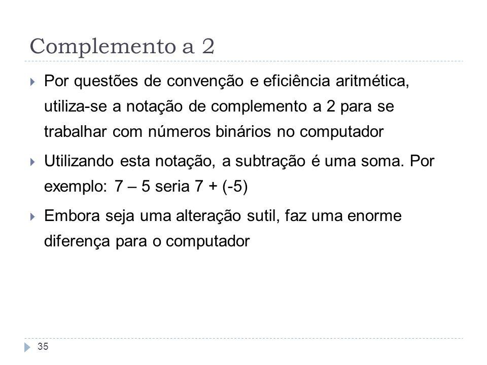 Complemento a 2 Por questões de convenção e eficiência aritmética, utiliza-se a notação de complemento a 2 para se trabalhar com números binários no c