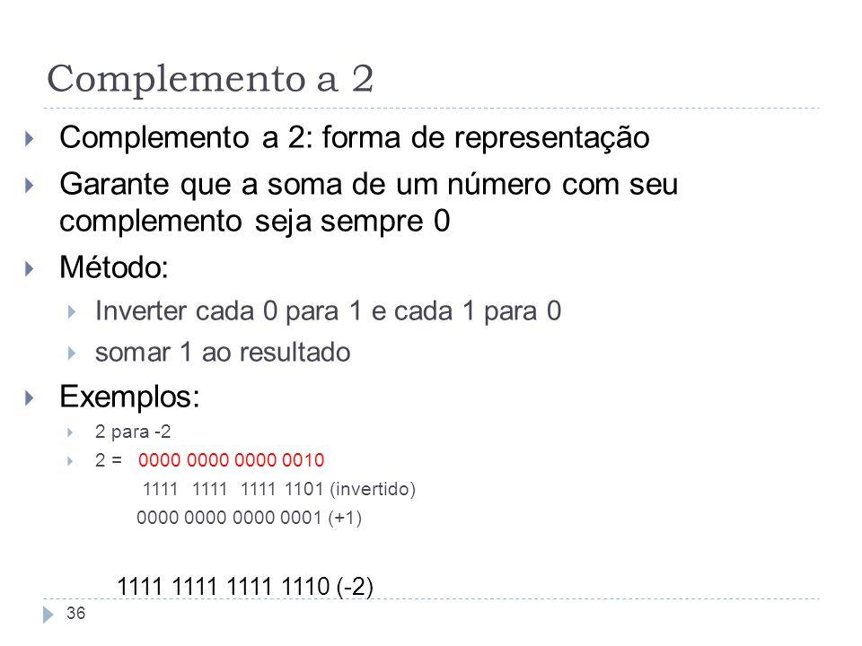 Complemento a 2: forma de representação Garante que a soma de um número com seu complemento seja sempre 0 Método: Inverter cada 0 para 1 e cada 1 para