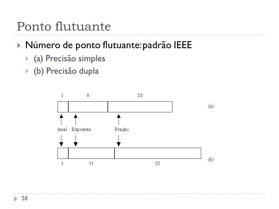 Ponto flutuante Número de ponto flutuante: padrão IEEE (a) Precisão simples (b) Precisão dupla 38