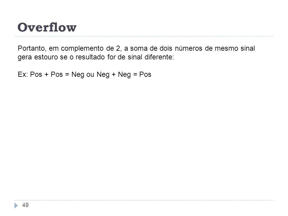 Overflow 49 Portanto, em complemento de 2, a soma de dois números de mesmo sinal gera estouro se o resultado for de sinal diferente: Ex: Pos + Pos = N