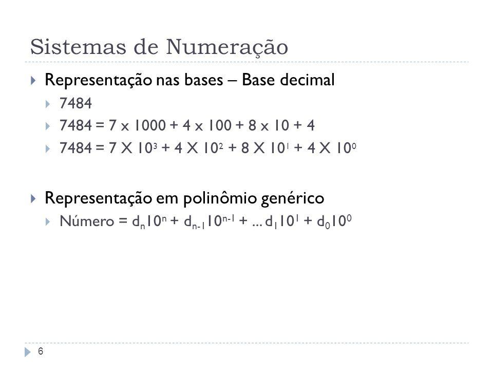 Sistemas de Numeração Mudança da base binária para decimal (10) 1011001010 2 0 x 2 0 = 0 1 x 2 1 = 2 0 x 2 2 = 0 1 x 2 3 = 8 0 x 2 4 = 0 0 x 2 5 = 0 1 x 2 6 = 64 1 x 2 7 = 128 0 x 2 8 = 0 1 x 2 9 = 512 7 = 0+2+0+8+0+0+64+128+0+512 = 714
