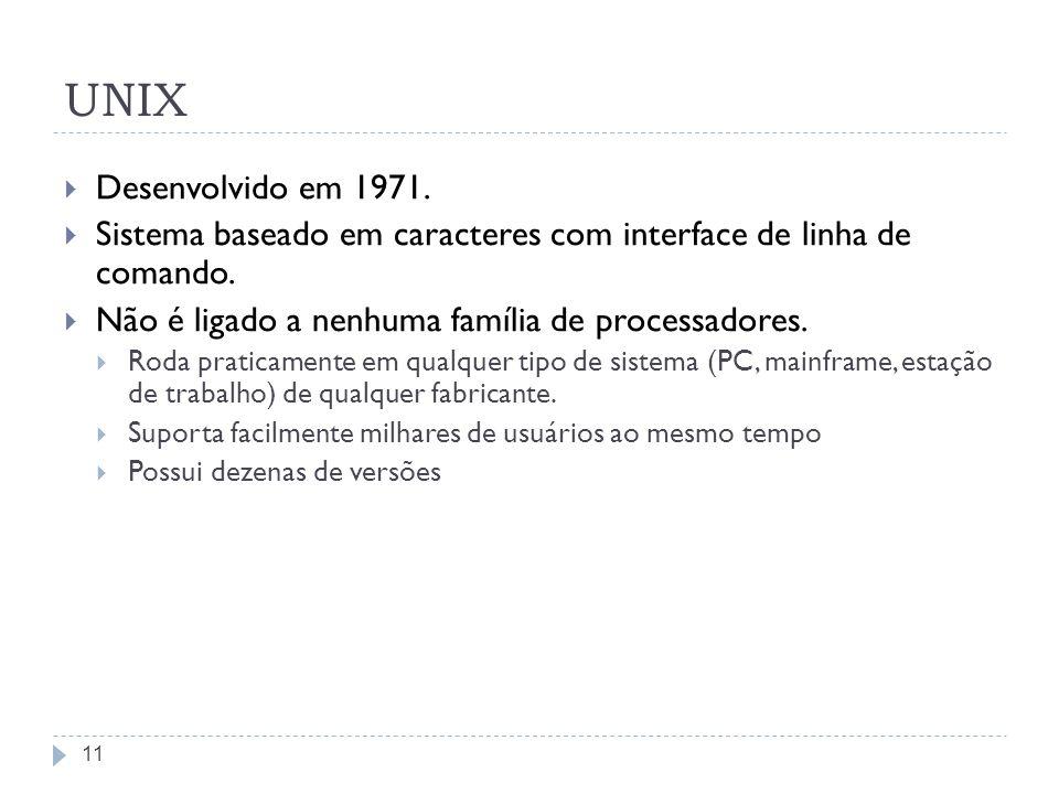 11 UNIX Desenvolvido em 1971. Sistema baseado em caracteres com interface de linha de comando. Não é ligado a nenhuma família de processadores. Roda p