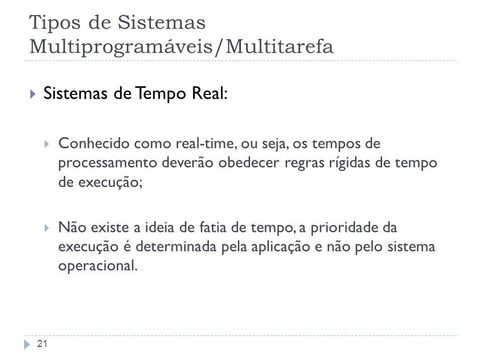 Tipos de Sistemas Multiprogramáveis/Multitarefa Sistemas de Tempo Real: Conhecido como real-time, ou seja, os tempos de processamento deverão obedecer
