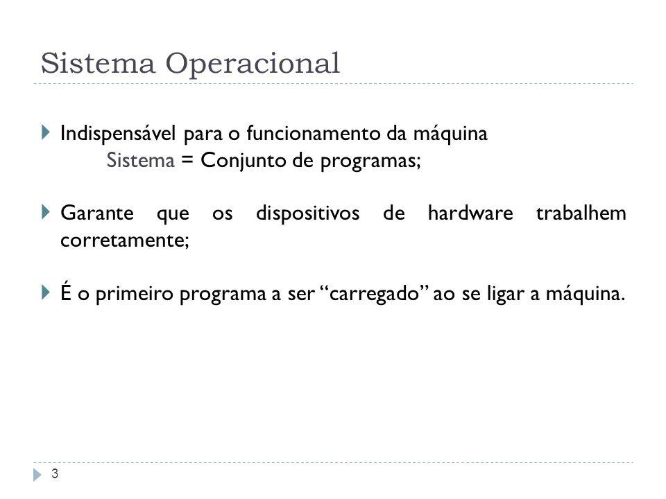 Sistema Operacional Indispensável para o funcionamento da máquina Sistema = Conjunto de programas; Garante que os dispositivos de hardware trabalhem corretamente; É o primeiro programa a ser carregado ao se ligar a máquina.