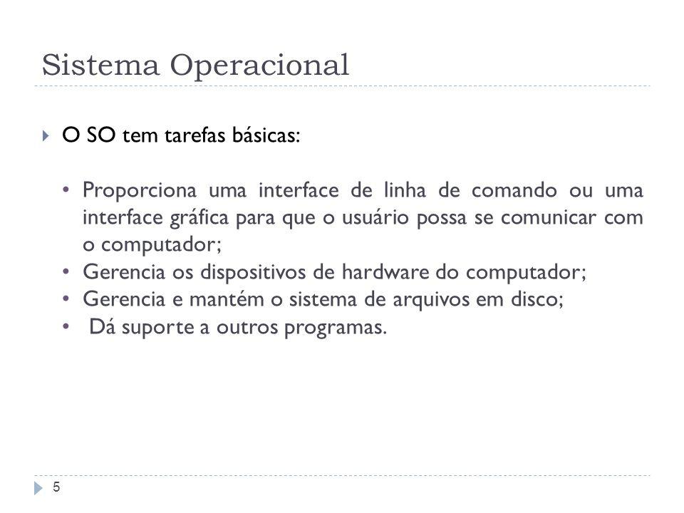 Sistema Operacional O SO tem tarefas básicas: Proporciona uma interface de linha de comando ou uma interface gráfica para que o usuário possa se comunicar com o computador; Gerencia os dispositivos de hardware do computador; Gerencia e mantém o sistema de arquivos em disco; Dá suporte a outros programas.