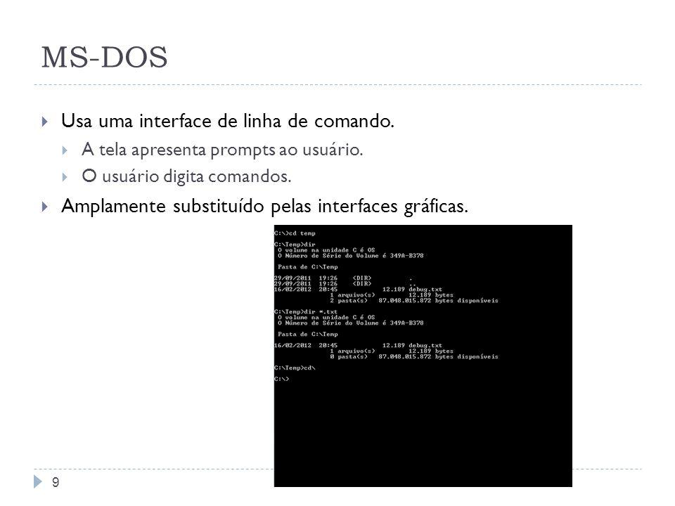 9 MS-DOS Usa uma interface de linha de comando. A tela apresenta prompts ao usuário. O usuário digita comandos. Amplamente substituído pelas interface
