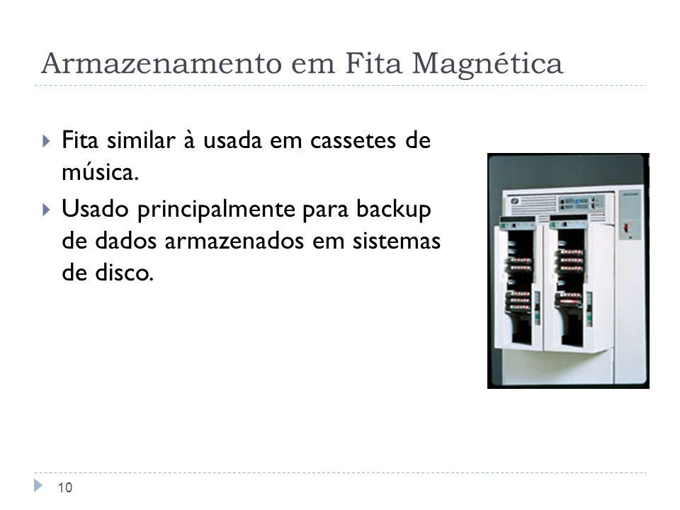 Armazenamento em Fita Magnética Fita similar à usada em cassetes de música. Usado principalmente para backup de dados armazenados em sistemas de disco