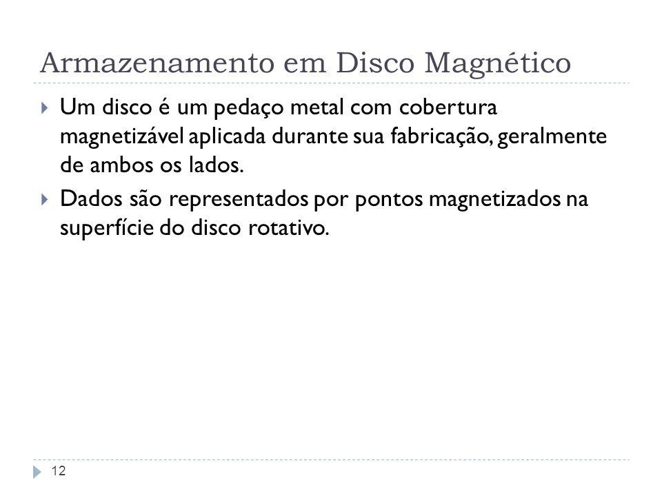 Armazenamento em Disco Magnético Um disco é um pedaço metal com cobertura magnetizável aplicada durante sua fabricação, geralmente de ambos os lados.