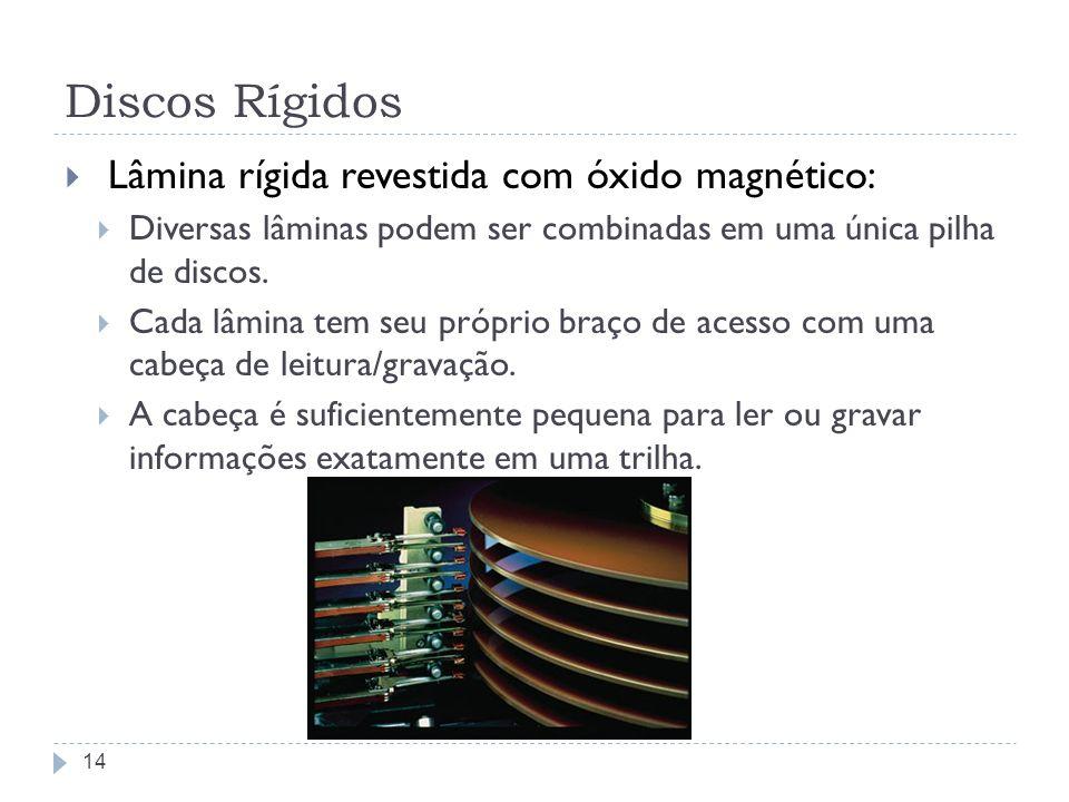 Discos Rígidos Lâmina rígida revestida com óxido magnético: Diversas lâminas podem ser combinadas em uma única pilha de discos. Cada lâmina tem seu pr