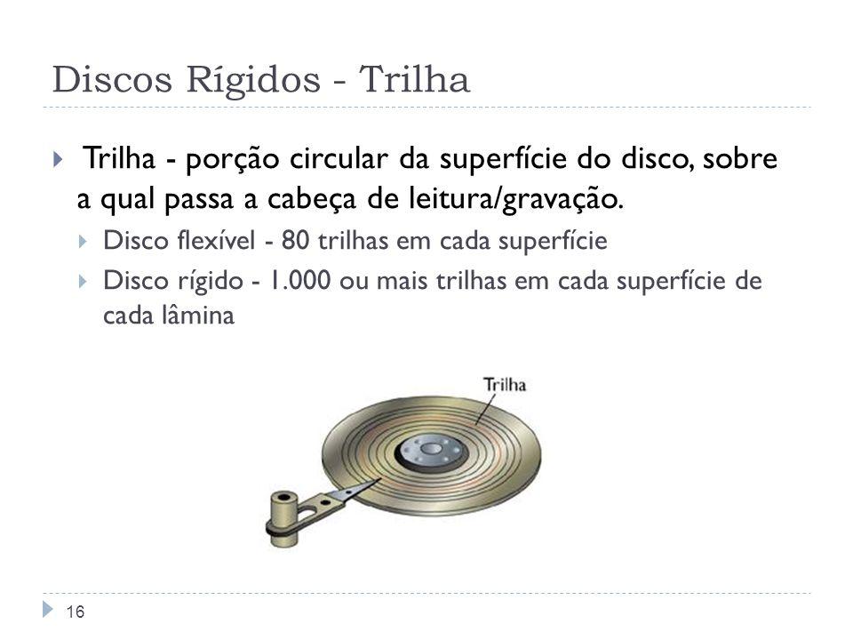 Discos Rígidos - Trilha Trilha - porção circular da superfície do disco, sobre a qual passa a cabeça de leitura/gravação. Disco flexível - 80 trilhas