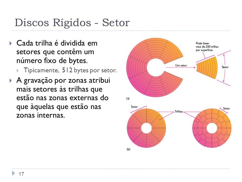 Discos Rígidos - Setor Cada trilha é dividida em setores que contêm um número fixo de bytes. Tipicamente, 512 bytes por setor. A gravação por zonas at