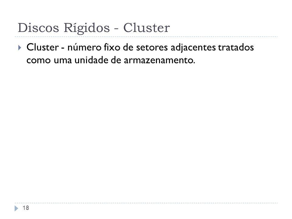 Discos Rígidos - Cluster Cluster - número fixo de setores adjacentes tratados como uma unidade de armazenamento. 18