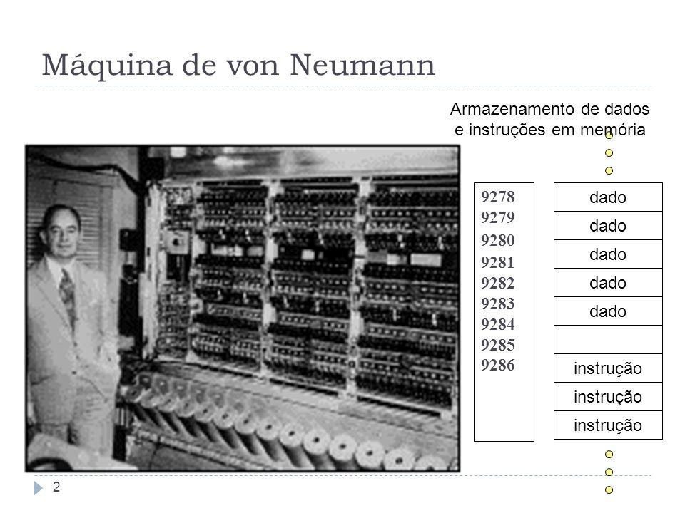 Máquina de von Neumann 9278 9279 9280 9281 9282 9283 9284 9285 9286 dado instrução Armazenamento de dados e instruções em memória 2