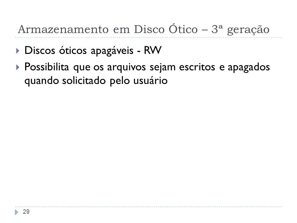 Armazenamento em Disco Ótico – 3ª geração Discos óticos apagáveis - RW Possibilita que os arquivos sejam escritos e apagados quando solicitado pelo us