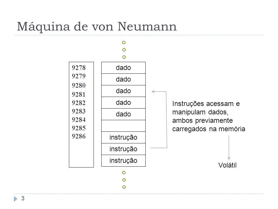 Máquina de von Neumann 9278 9279 9280 9281 9282 9283 9284 9285 9286 dado instrução Instruções acessam e manipulam dados, ambos previamente carregados