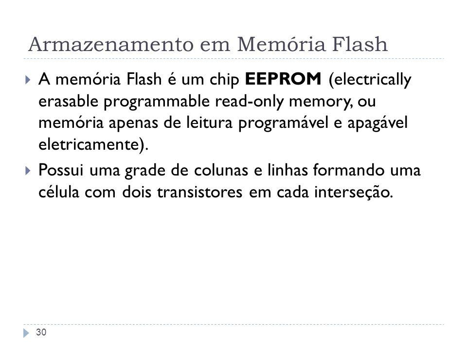 Armazenamento em Memória Flash A memória Flash é um chip EEPROM (electrically erasable programmable read-only memory, ou memória apenas de leitura pro