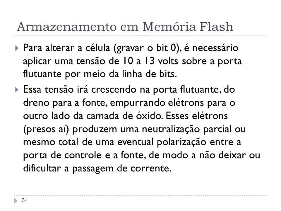 Armazenamento em Memória Flash Para alterar a célula (gravar o bit 0), é necessário aplicar uma tensão de 10 a 13 volts sobre a porta flutuante por me