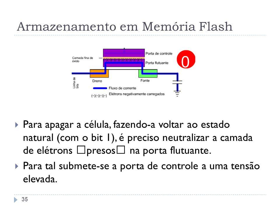 """Armazenamento em Memória Flash Para apagar a célula, fazendo-a voltar ao estado natural (com o bit 1), é preciso neutralizar a camada de elétrons """"pre"""