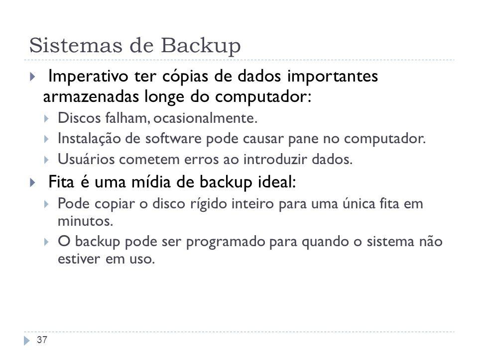Sistemas de Backup Imperativo ter cópias de dados importantes armazenadas longe do computador: Discos falham, ocasionalmente. Instalação de software p