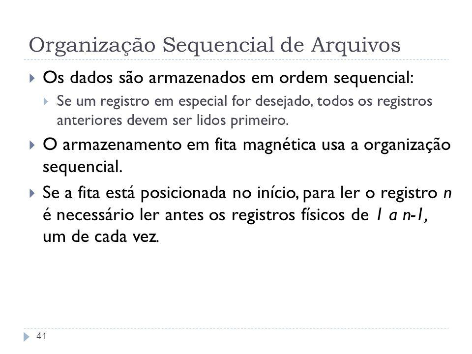 Organização Sequencial de Arquivos Os dados são armazenados em ordem sequencial: Se um registro em especial for desejado, todos os registros anteriore