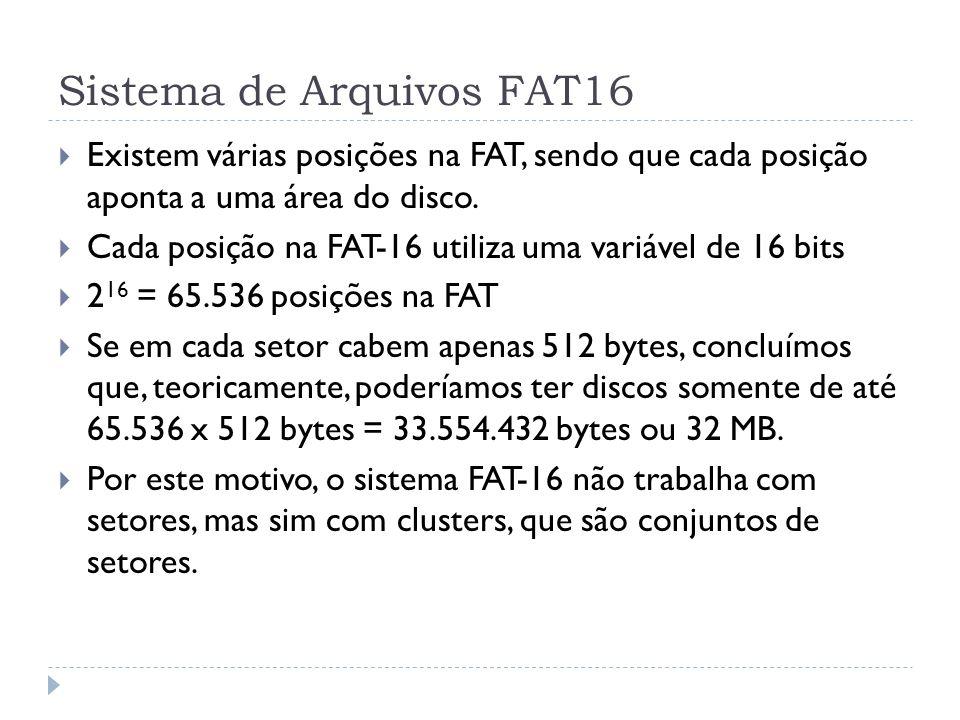 Sistema de Arquivos FAT16 Existem várias posições na FAT, sendo que cada posição aponta a uma área do disco. Cada posição na FAT-16 utiliza uma variáv