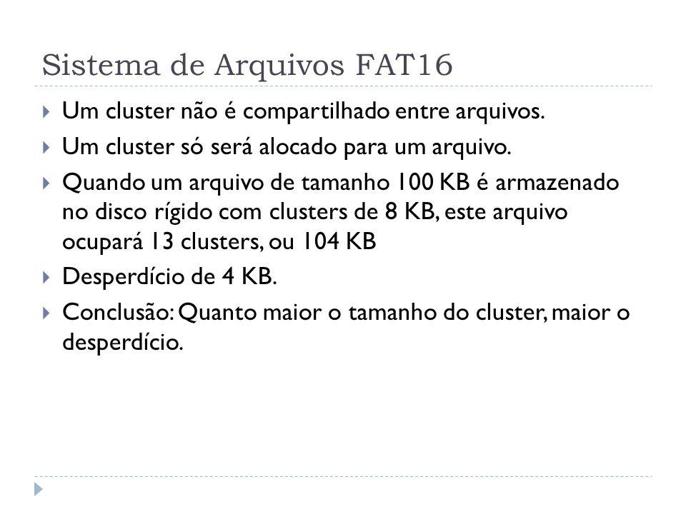 Sistema de Arquivos FAT16 Um cluster não é compartilhado entre arquivos. Um cluster só será alocado para um arquivo. Quando um arquivo de tamanho 100