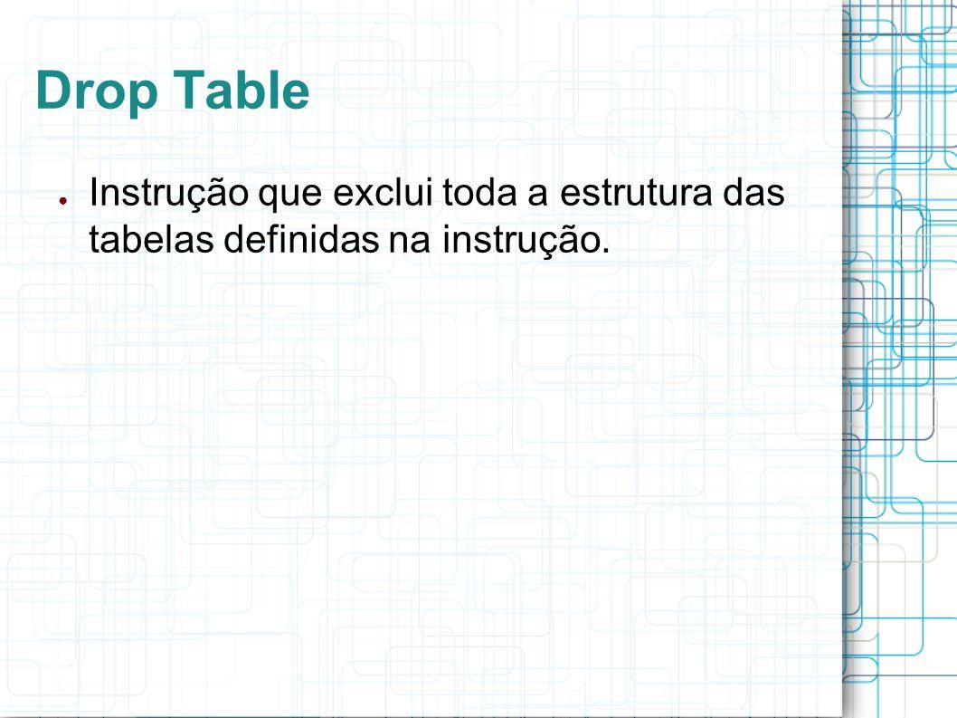 Drop Table Instrução que exclui toda a estrutura das tabelas definidas na instrução.