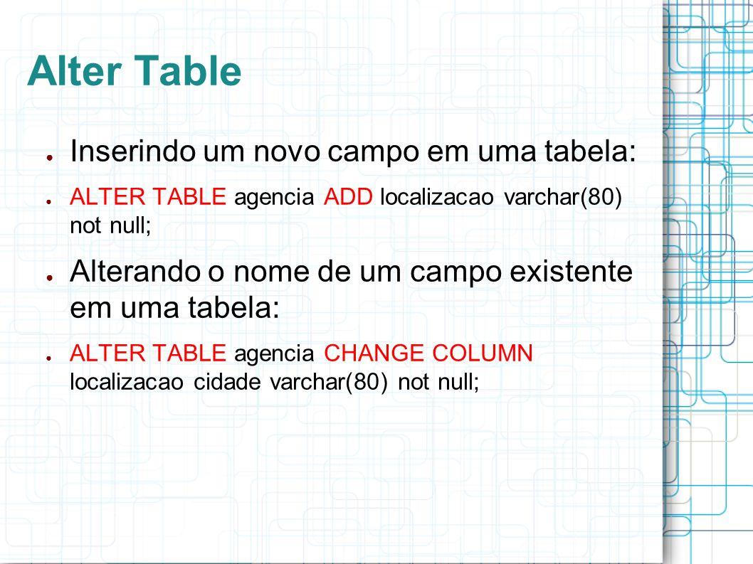 Alter Table Inserindo um novo campo em uma tabela: ALTER TABLE agencia ADD localizacao varchar(80) not null; Alterando o nome de um campo existente em