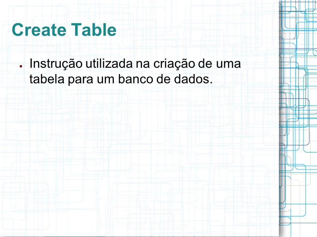 Create Table Exemplos: CREATE TABLE agencia { idAgencia integer not null primary key, numero varchar(45) not null }