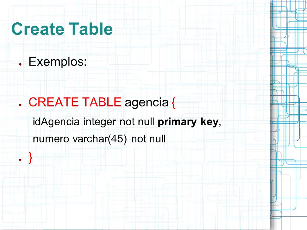 Create Table Exemplos: CREATE TABLE agencia { idAgencia integer not null primary key, numero varchar(45) not null }