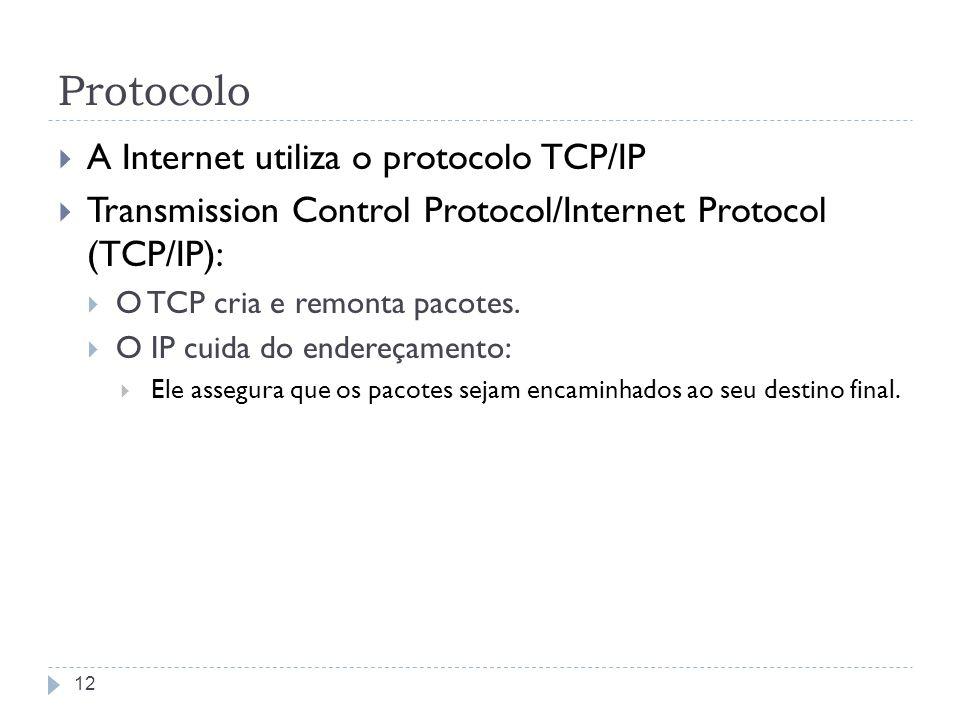 Protocolo A Internet utiliza o protocolo TCP/IP Transmission Control Protocol/Internet Protocol (TCP/IP): O TCP cria e remonta pacotes. O IP cuida do