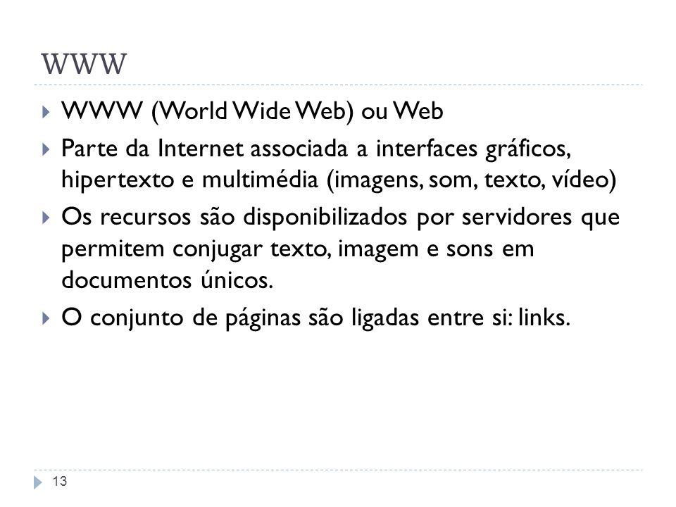 WWW WWW (World Wide Web) ou Web Parte da Internet associada a interfaces gráficos, hipertexto e multimédia (imagens, som, texto, vídeo) Os recursos sã