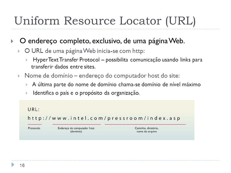 Uniform Resource Locator (URL) O endereço completo, exclusivo, de uma página Web. O URL de uma página Web inicia-se com http: HyperText Transfer Proto