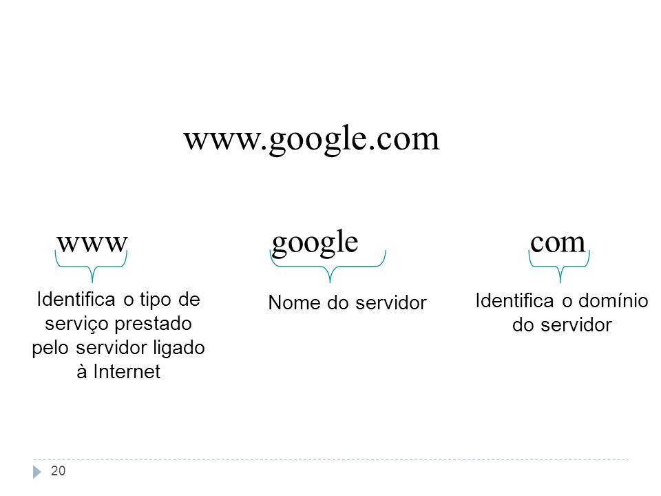 www.google.com www Identifica o tipo de serviço prestado pelo servidor ligado à Internet comgoogle Nome do servidor Identifica o domínio do servidor 2
