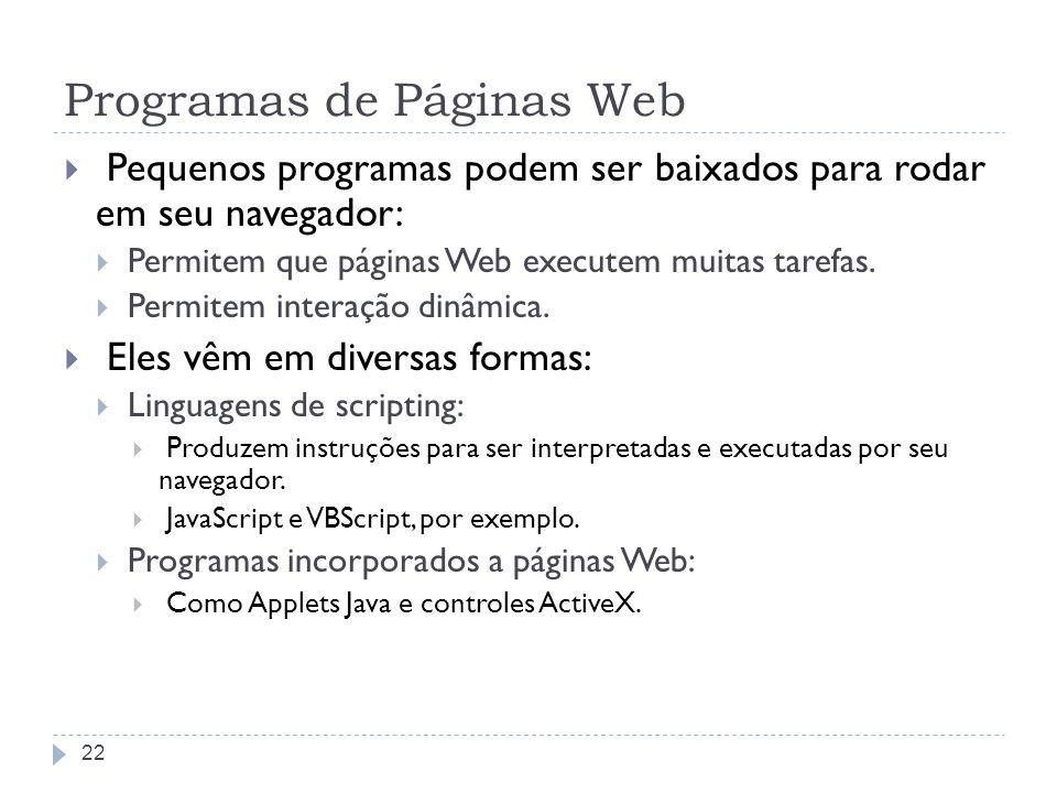 Programas de Páginas Web Pequenos programas podem ser baixados para rodar em seu navegador: Permitem que páginas Web executem muitas tarefas. Permitem
