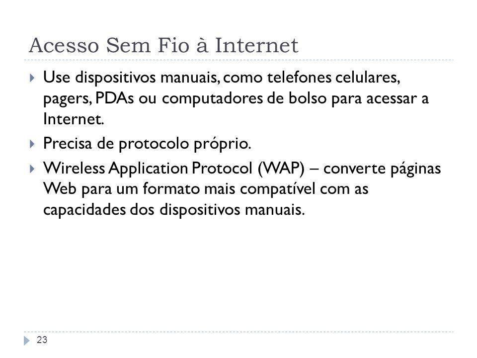 Acesso Sem Fio à Internet Use dispositivos manuais, como telefones celulares, pagers, PDAs ou computadores de bolso para acessar a Internet. Precisa d