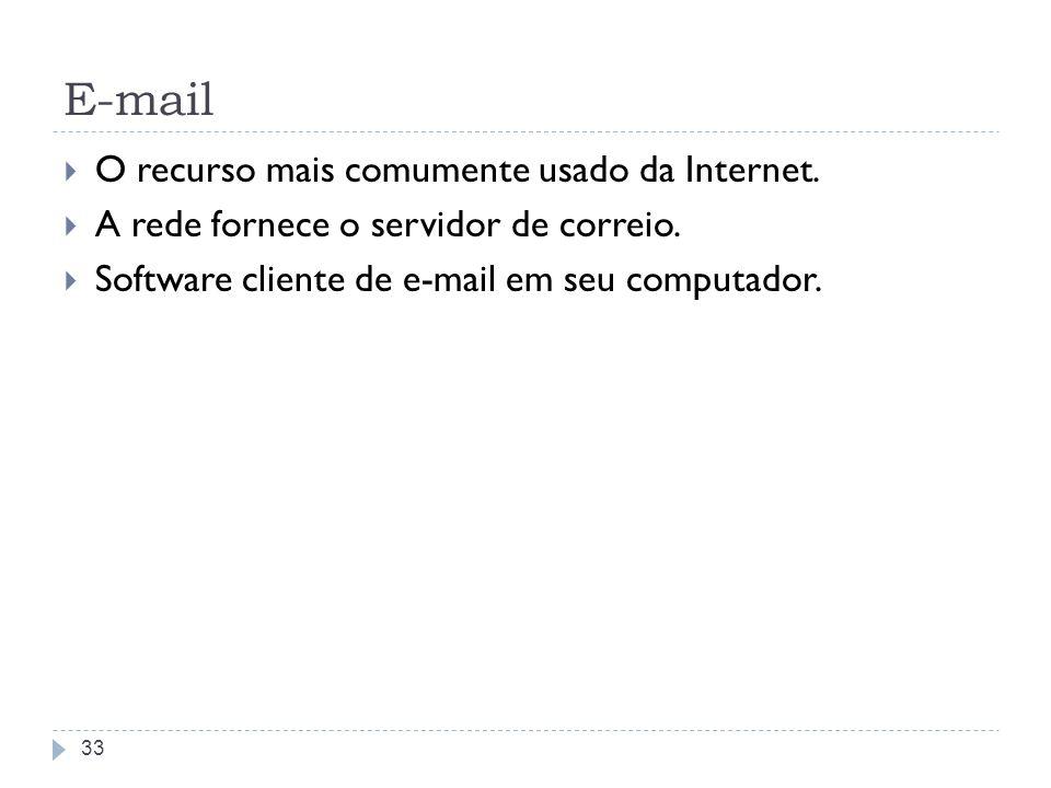 E-mail O recurso mais comumente usado da Internet. A rede fornece o servidor de correio. Software cliente de e-mail em seu computador. 33