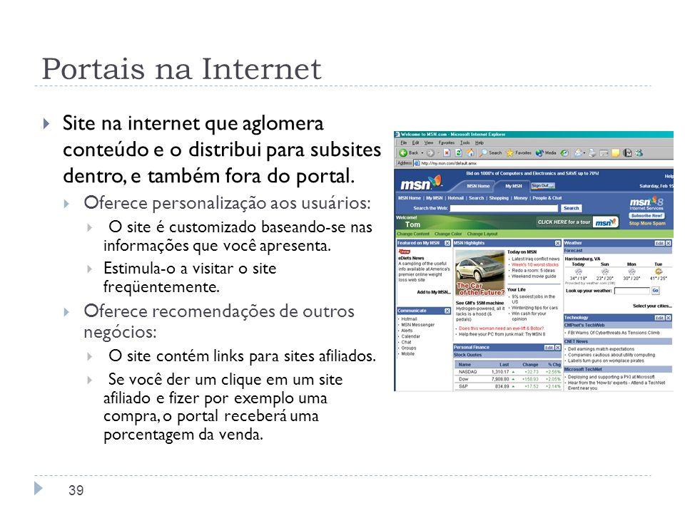 Portais na Internet Site na internet que aglomera conteúdo e o distribui para subsites dentro, e também fora do portal. Oferece personalização aos usu