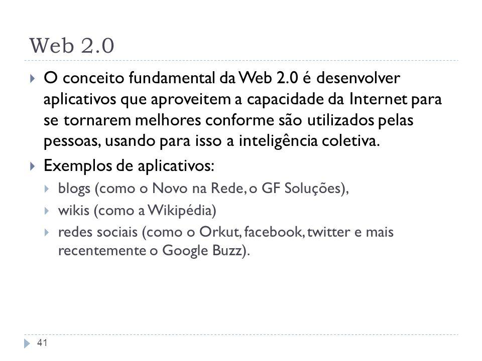 Web 2.0 O conceito fundamental da Web 2.0 é desenvolver aplicativos que aproveitem a capacidade da Internet para se tornarem melhores conforme são uti