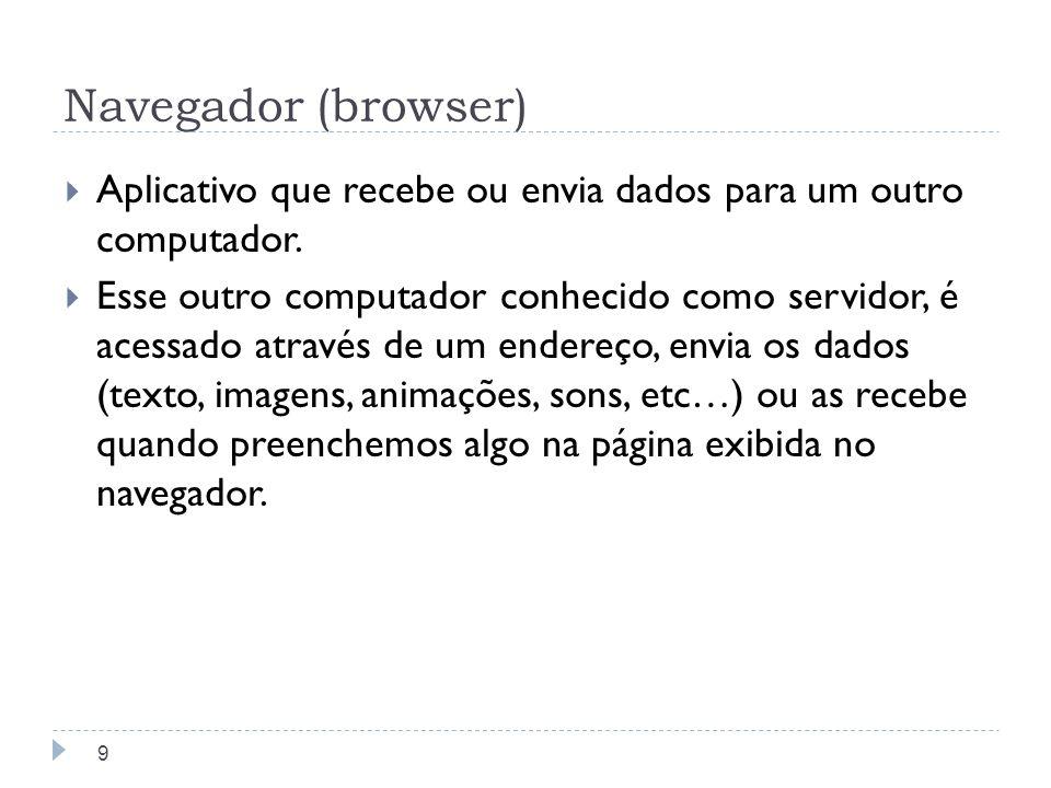 Navegador (browser) Aplicativo que recebe ou envia dados para um outro computador. Esse outro computador conhecido como servidor, é acessado através d