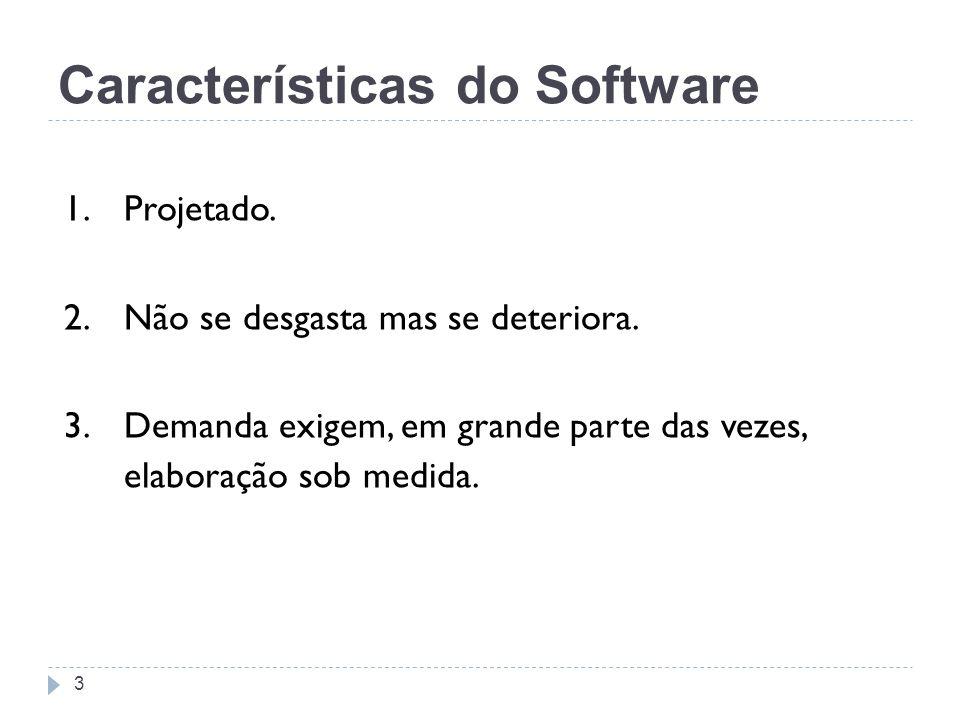Características do Software 1. Projetado. 2. Não se desgasta mas se deteriora. 3. Demanda exigem, em grande parte das vezes, elaboração sob medida. 3